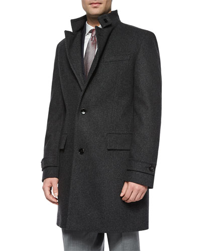 Stand-Collar Wool Overcoat, Charcoal