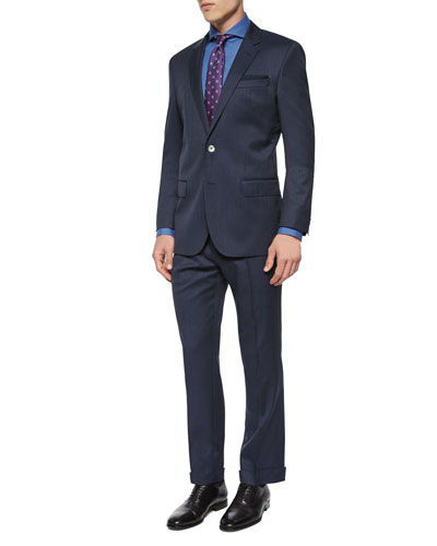 Slim Fit Striped Two-Piece Wool Suit, Navy