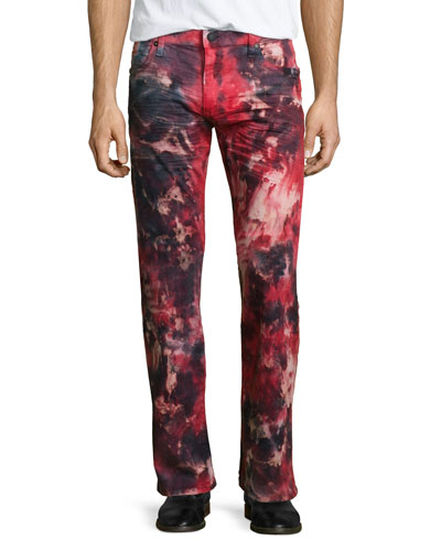 Tie-Dye Studded Pocket Denim Jeans, Red Pattern