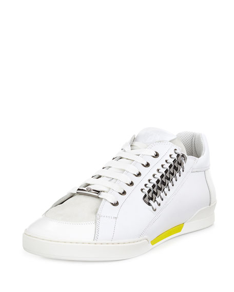 Versace Men's Casual Leather Sneaker, White