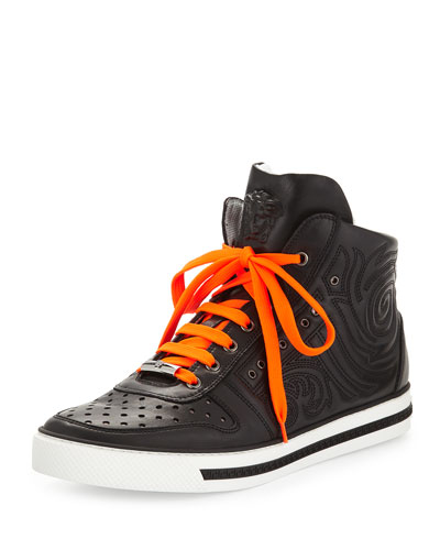 Men's Embossed Leather High-Top Sneaker, Black
