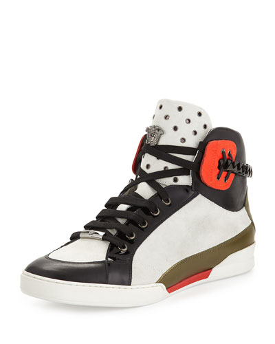 Men's Leather High-Top Sneaker, Black/White