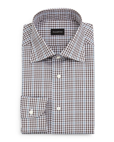 Check Dress Shirt, Light Blue/Charcoal