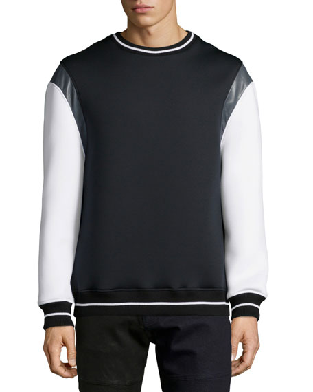 Daniel WonEvan Mixed-Media Crewneck Sweater, Black