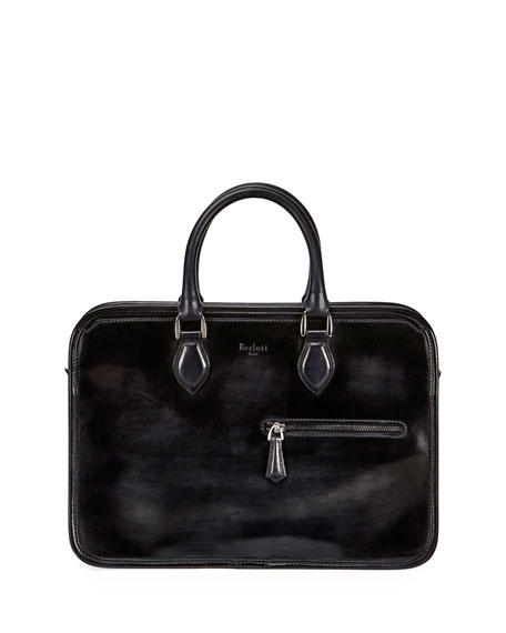 Berluti Single-Zip Leather Briefcase, Smoke
