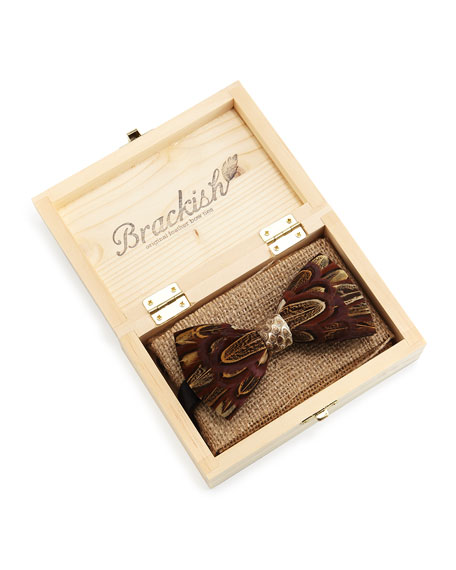 Pheasant-Feather Bow Tie, Brown