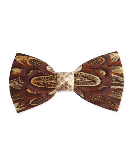 Brackish BowtiesPheasant-Feather Bow Tie, Brown