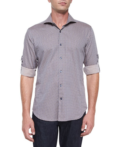 Medallion-Print Woven Sport Shirt, Brown Pattern