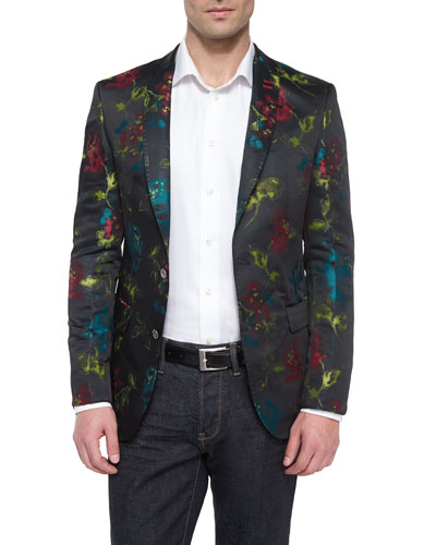 Floral-Print Two-Button Blazer, Black