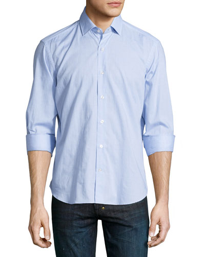 Dot-Print Woven Long-Sleeve Shirt, Blue Pattern
