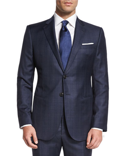 Wall St. Plaid Two-Piece Wool Suit, Blue