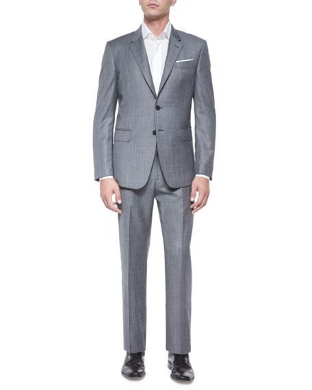 Bayard Sharkskin Two-Piece Wool Suit, Gray