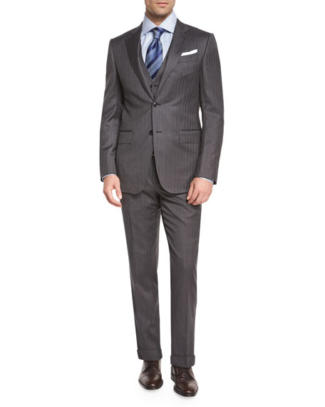 Ermenegildo Zegna Herringbone Three-Piece Wool Suit, Gray