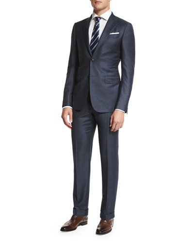 Trofeo Tic Stripe Two-Piece Suit, Gray/Blue