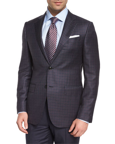 Check Two-Button Wool Jacket, Gray/Burgundy