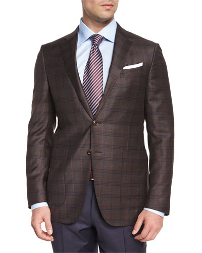 Trofeo Plaid Two-Button Jacket, Brown/Navy