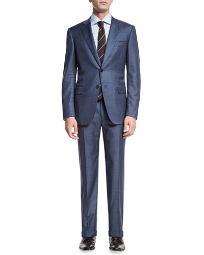 Gregory Pinstripe Two-Piece Suit, Light Blue
