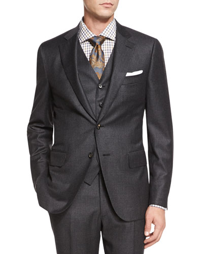 Micro-Check Three-Piece Suit, Dark Gray