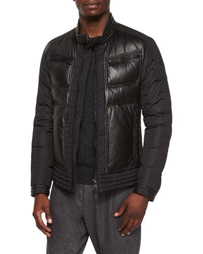 Allemand Leather-Front Jacket, Black