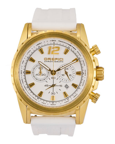 Ibrido Chronograph Watch with Rubber Strap, White/Gold