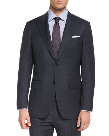 Canali Birdseye Two-Piece Wool Suit, Charcoal