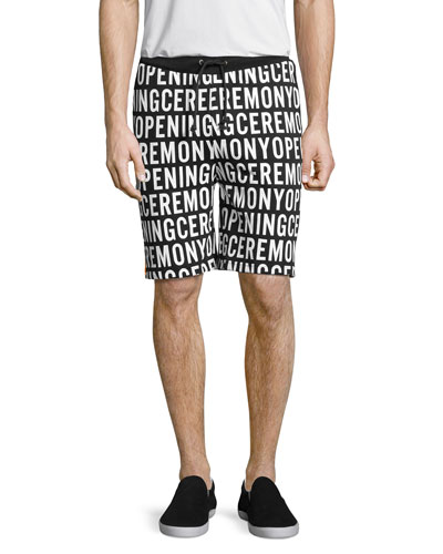 Logo-Print Sweat Shorts, Black Multi