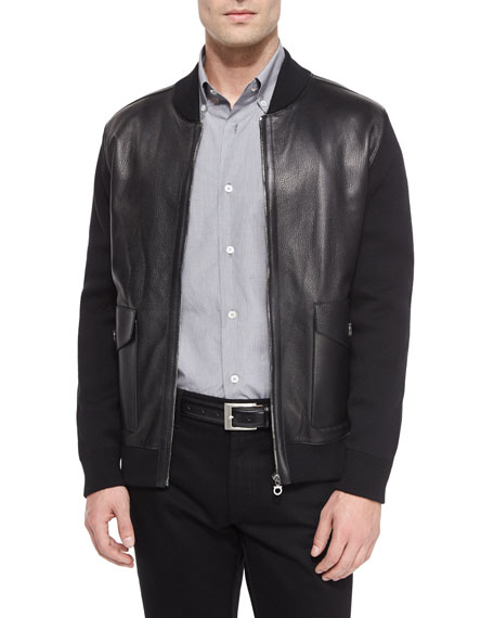 Salvatore Ferragamo Leather Jacket with Wool Sleeves, Black