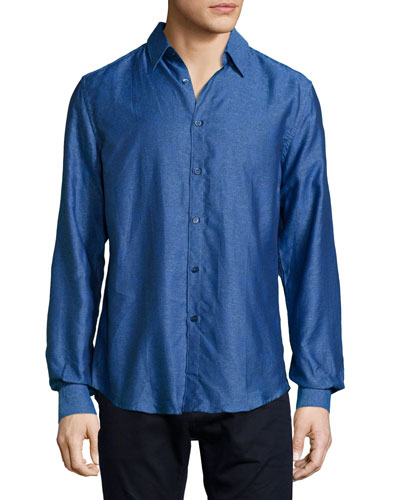 Long-Sleeve Woven Dress Shirt, Blue