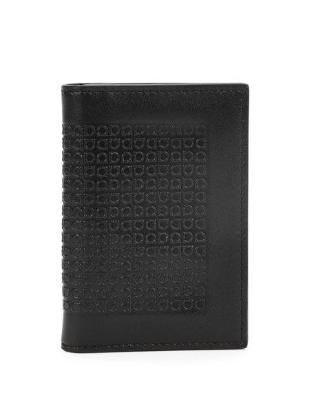 Salvatore Ferragamo Mini Gancini-Embossed Leather Card Case, Black