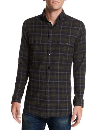 Plaid Flannel Sport Shirt, Black/Green