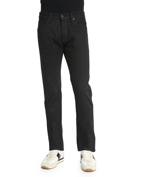 TOM FORD Straight-Fit Resin-Coated Selvedge Jeans, Black