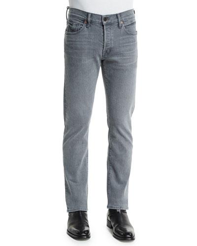 Straight-Fit Yarn-Dyed Selvedge Denim Jeans, Light Gray