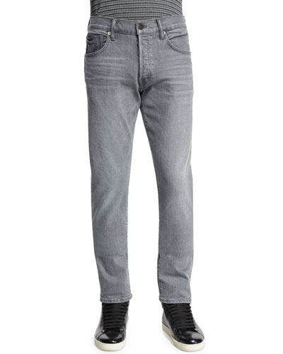 Regular-Fit Stretch-Selvedge Denim Jeans, Light Gray