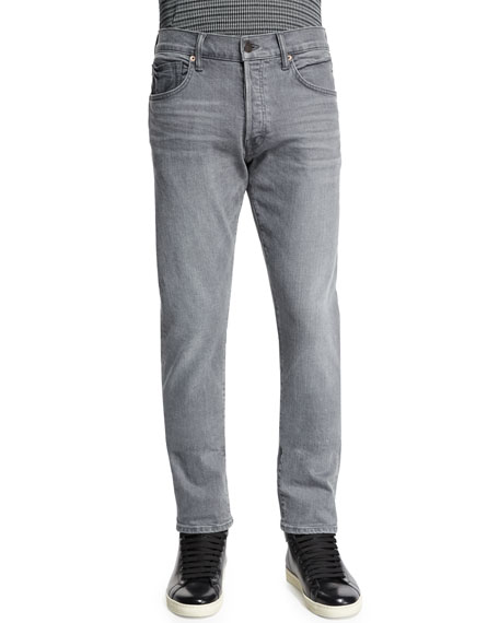 TOM FORD Regular-Fit Stretch-Selvedge Denim Jeans, Light Gray
