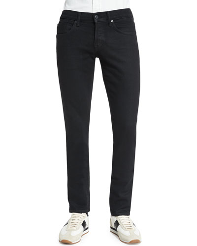 Slim-Fit Stretch-Selvedge Denim Jeans, Black