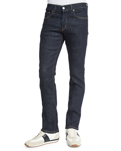 Straight-Fit Deep Indigo Stretch Jeans