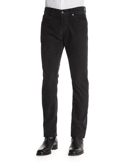 TOM FORD Regular-Fit Washed Pinwale Corduroy Pants, Charcoal