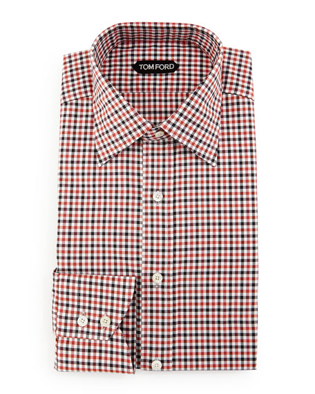 TOM FORD Gingham Dress Shirt, Black/Red