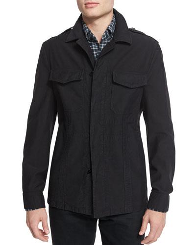 Finely Corded Shirt Jacket, Black
