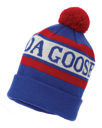 Stitched-Logo Wool Pom-Pom Beanie Hat, White/Blue/Red