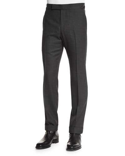 O'Connor Base Gingham Trousers, Charcoal