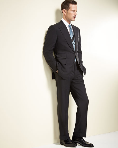 Image 2 of 4: TOM FORD Windsor Base Peak-Lapel Two-Piece Suit, Black