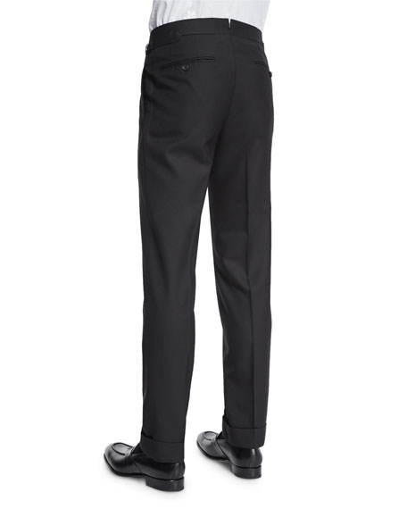 O'Connor Base Flat-Front Sharkskin Trousers, Black