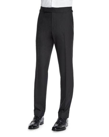 TOM FORD O'Connor Base Flat-Front Sharkskin Trousers, Black