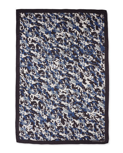 Men's Camo Skull Scarf, Blue/White
