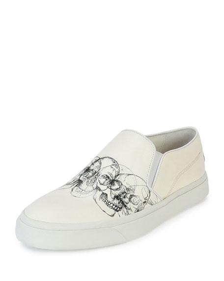Alexander McQueen Skull-Graphic Slip-On Skate Shoe, White/Black