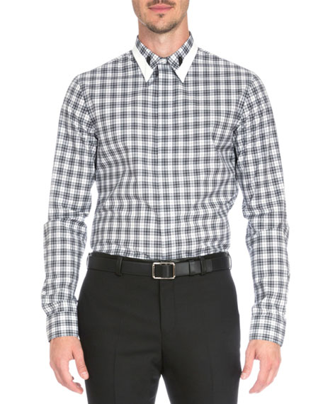 Givenchy Plaid Shirt with Contrast Collar, Black