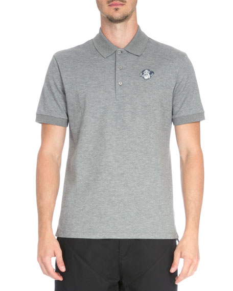 Givenchy Rottweiler Patch Pique Polo Shirt, Dark Gray