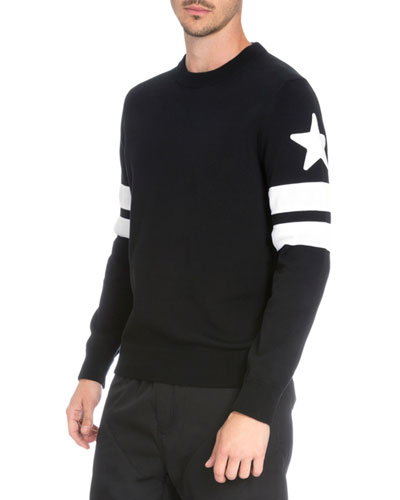 Double-Stripe & Star Knit Sweater, Black