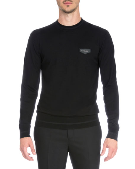 Givenchy Logo Patch Crewneck Sweater, Black